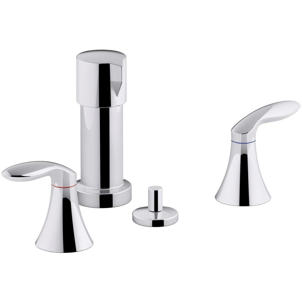 KOHLER Coralais 2-Handle Bidet Faucet in Polished Chrome