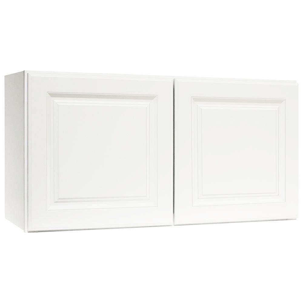 Hampton bay hampton assembled 36x18x12 in wall bridge for Hampton bay white kitchen cabinets