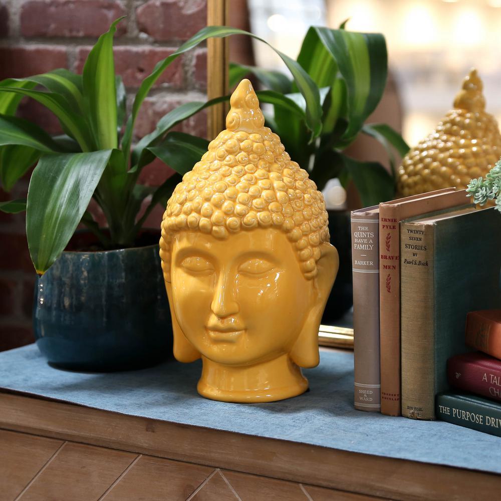 13.5 in. H Buddha Decorative Sculpture in Yellow Gloss Finish