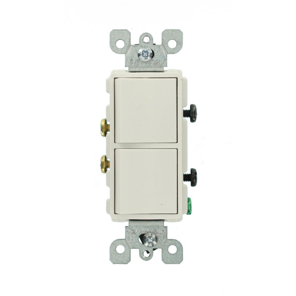 Leviton Decora 15 Amp Single Pole Dual Switch, White-R62-05634-0WS ...