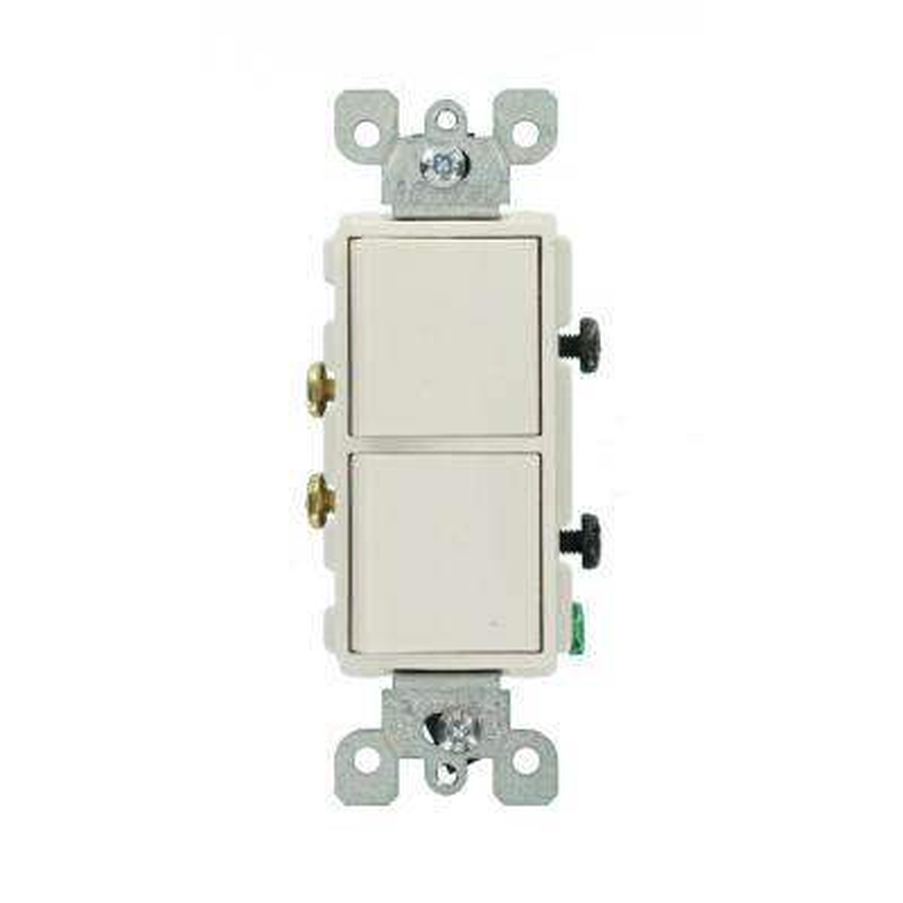 Decora 15 Amp Single Pole Dual Switch, White