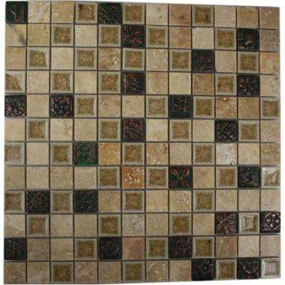 Roman Selection Side Saddle with Deco 12 in. x 12 in. x 8 mm Glass Mosaic Floor and Wall Tile