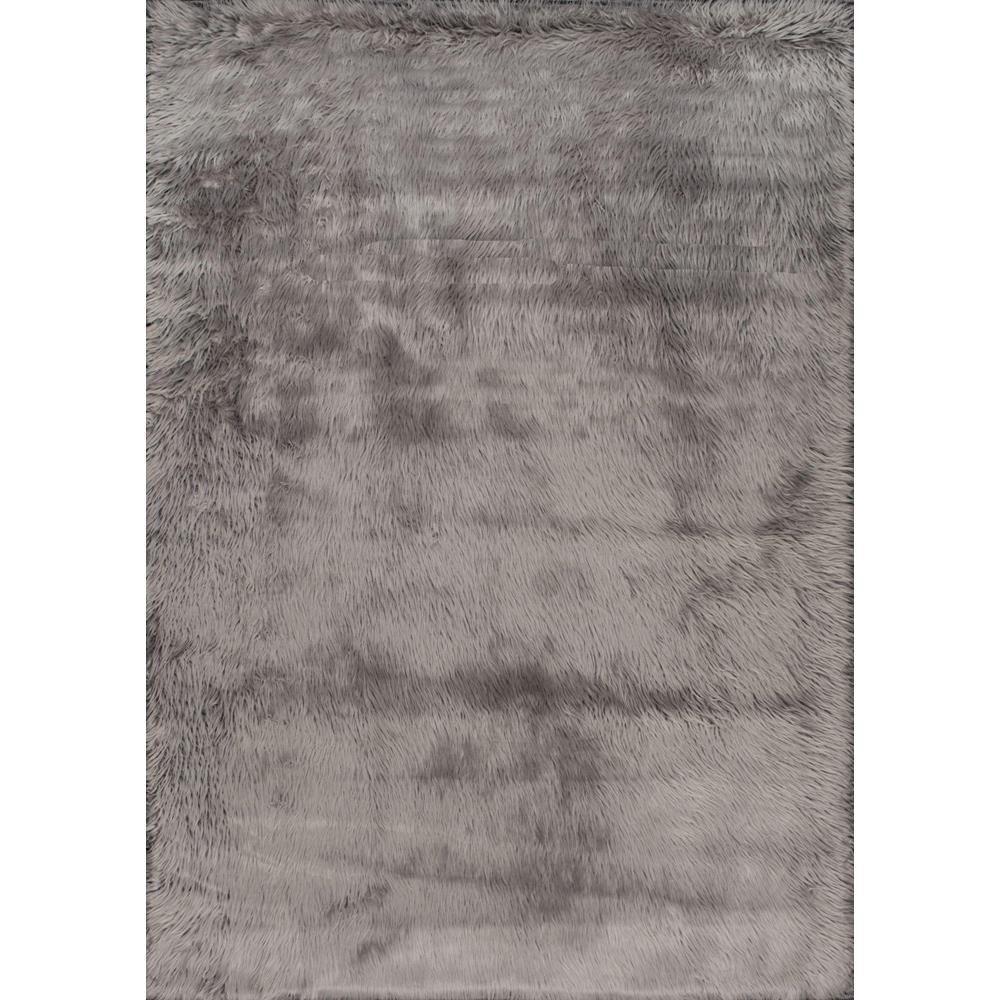 Cloud Faux Sheepskin Plush Shag Gray 4 ft. x 6 ft.  Area Rug