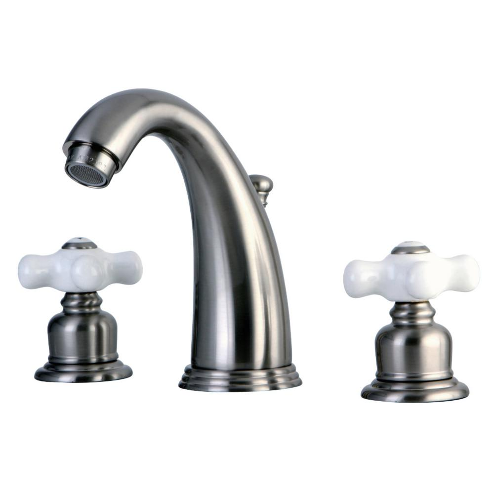 Kingston Brass Victorian 8 In. Widespread 2-Handle Bathroom Faucet In Brushed Nickel-HKB988PX