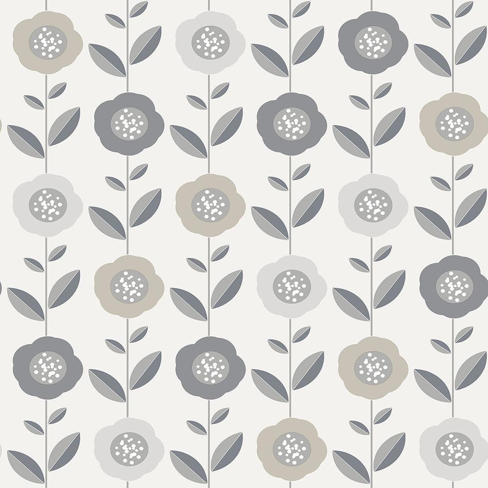 56.4 sq. ft. Helsinki Silver Flowers Wallpaper