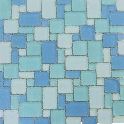 Ocean Wave French Pattern Beached Frosted Glass Mosaic Wall Tile - 3 in. x 6 in. Tile Sample