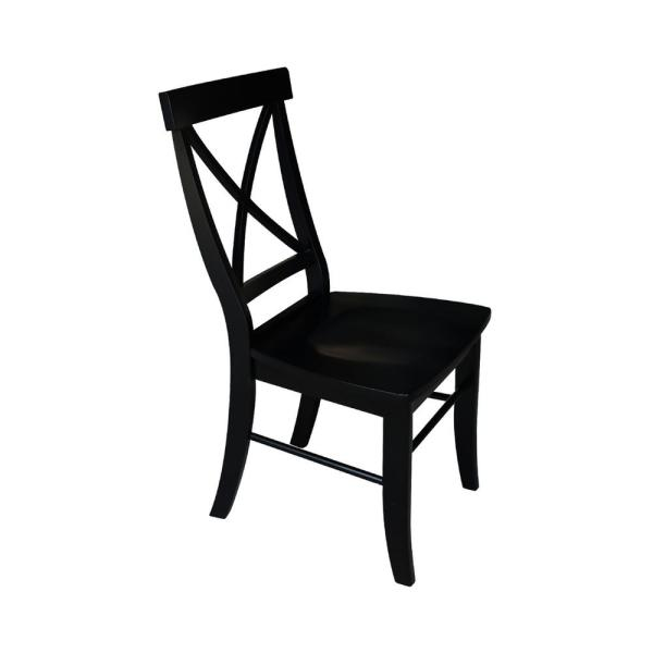 International Concepts Black Wood X Back Dining Chair Set Of 2 C46 613p The Home Depot