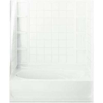 Ensemble 42 in. x 60 in. x 73-1/4 in. Bath and Shower Kit Left Drain in White with Backer Boards