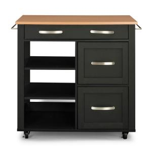 HomeDepot.com deals on Home Styles Storage Plus Black Kitchen Cart 4421-95