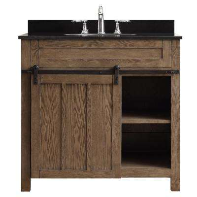 Oakland 36 in. W x 22 in. D Vanity in Classic Nutmeg with Granite Vanity Top in Black with White Basin