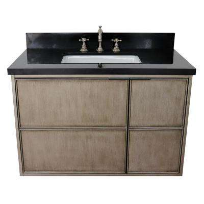 Scandi 37 in. W x 22 in. D Wall Mount Bath Vanity in Brown with Granite Vanity Top in Black with White Rectangle Basin