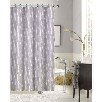 Morocco 70 in. Silver Shrink Yarn Fabric Shower Curtain