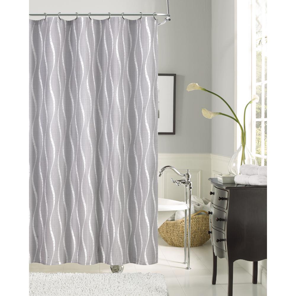 Morocco 70 in. Silver Shrink Yarn Fabric Shower Curtain