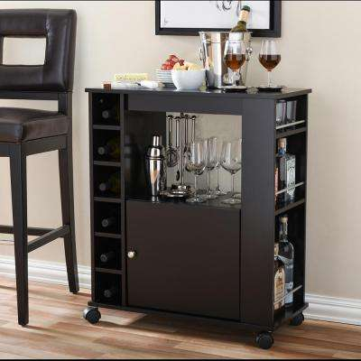 Ontario Dark Brown Wine Cart With Storage