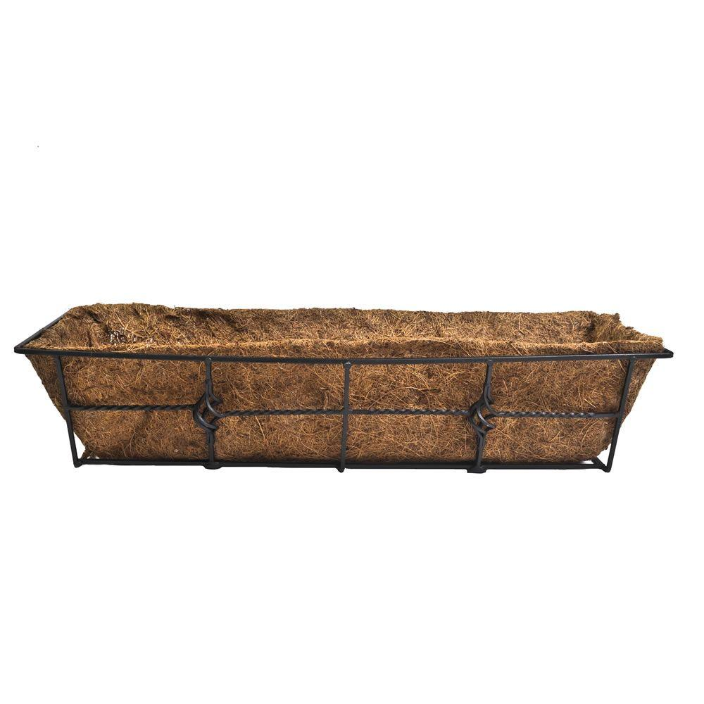 cobraco antoinette 24 in steel deck rail planter dpbant24 b the rh homedepot com home depot over railing planter home depot railing planter boxes