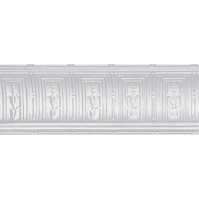 8-3/4 in. x 4 ft. x 8-3/4 in. Powder-Coated White Nail-up/Direct Application Tin Ceiling Cornice (6-Pack)