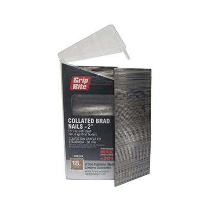 2 in. x 18-Gauge 304 Stainless Steel Brad Nails (1,000 per Box)