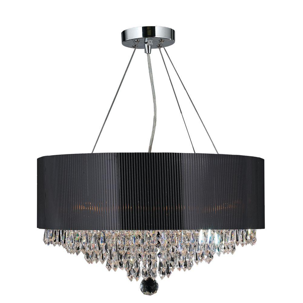 Worldwide lighting gatsby collection 8 light polished chrome and worldwide lighting gatsby collection 8 light polished chrome and clear crystal chandelier with drum shade aloadofball