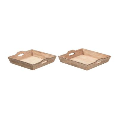 Home Decorators Collection Natural Wood Decorative Rectangle Tray (Set of 2)