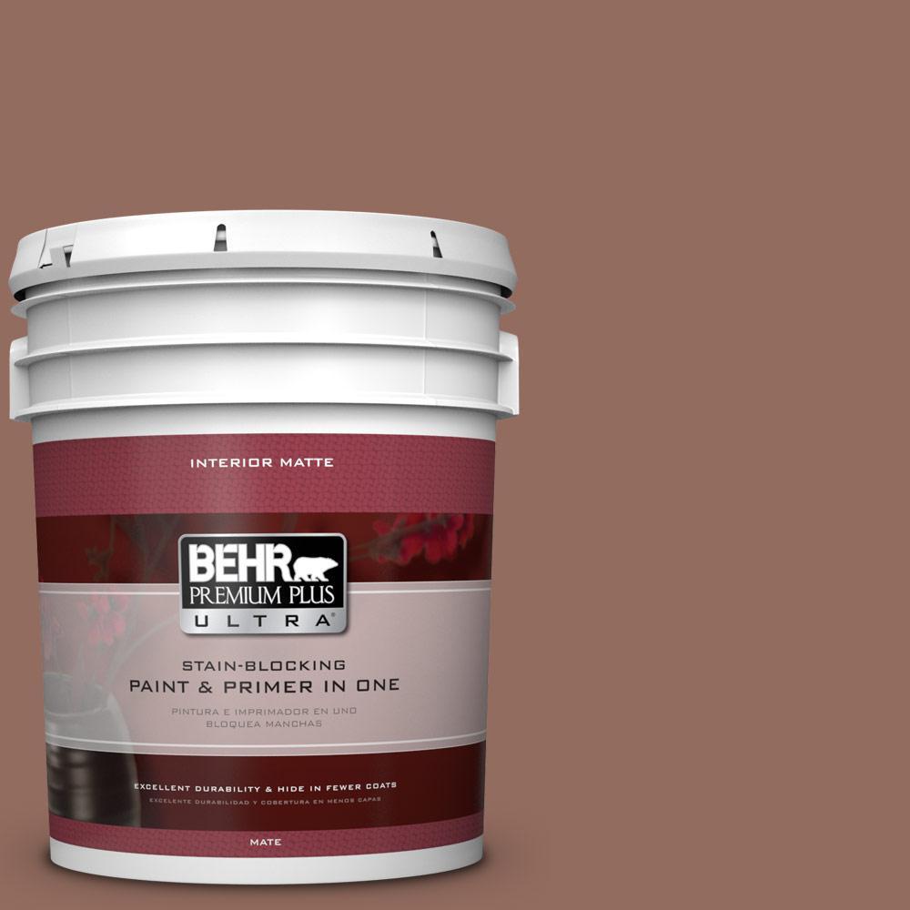 BEHR Premium Plus Ultra 5 gal. #220F-6 Chocolate Curl Flat/Matte Interior Paint