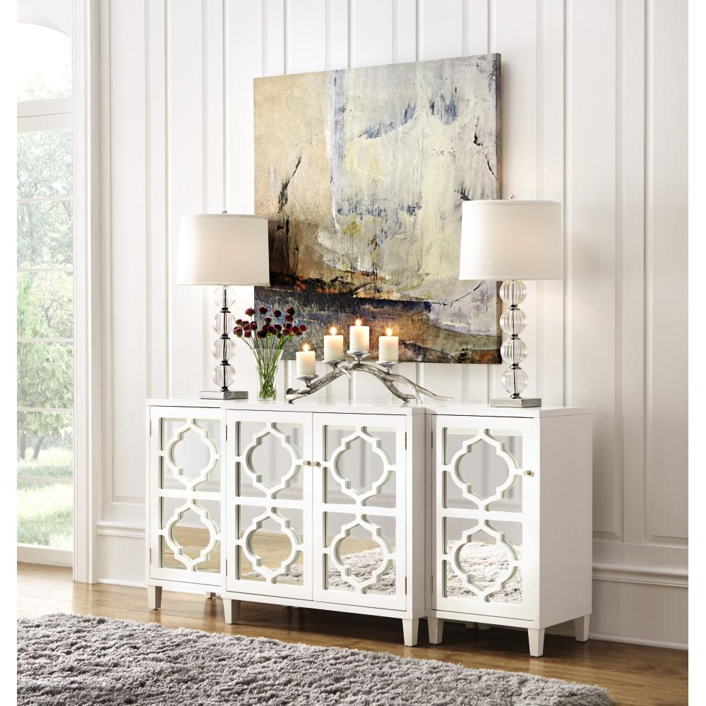 Attrayant Home Decorators Collection Reflections White Mirrored Console Table Set  M61260H11 W   The Home Depot