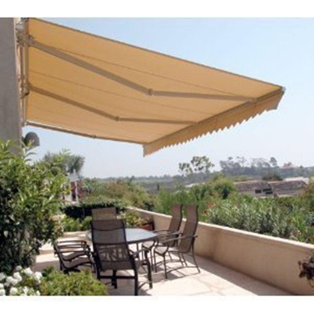 Aleko 12 Ft Manual Patio Retractable Awning 120 In Projection In Sand Aw12x10sand31 Hd The Home Depot