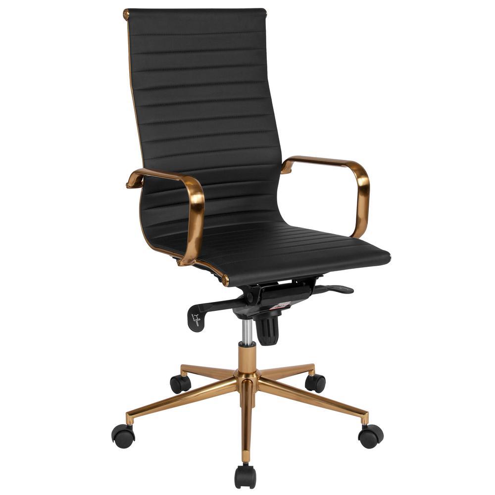 Flash Furniture Black Leather/Gold Frame Office/Desk Chair CGA-BT-239680-BL-HD