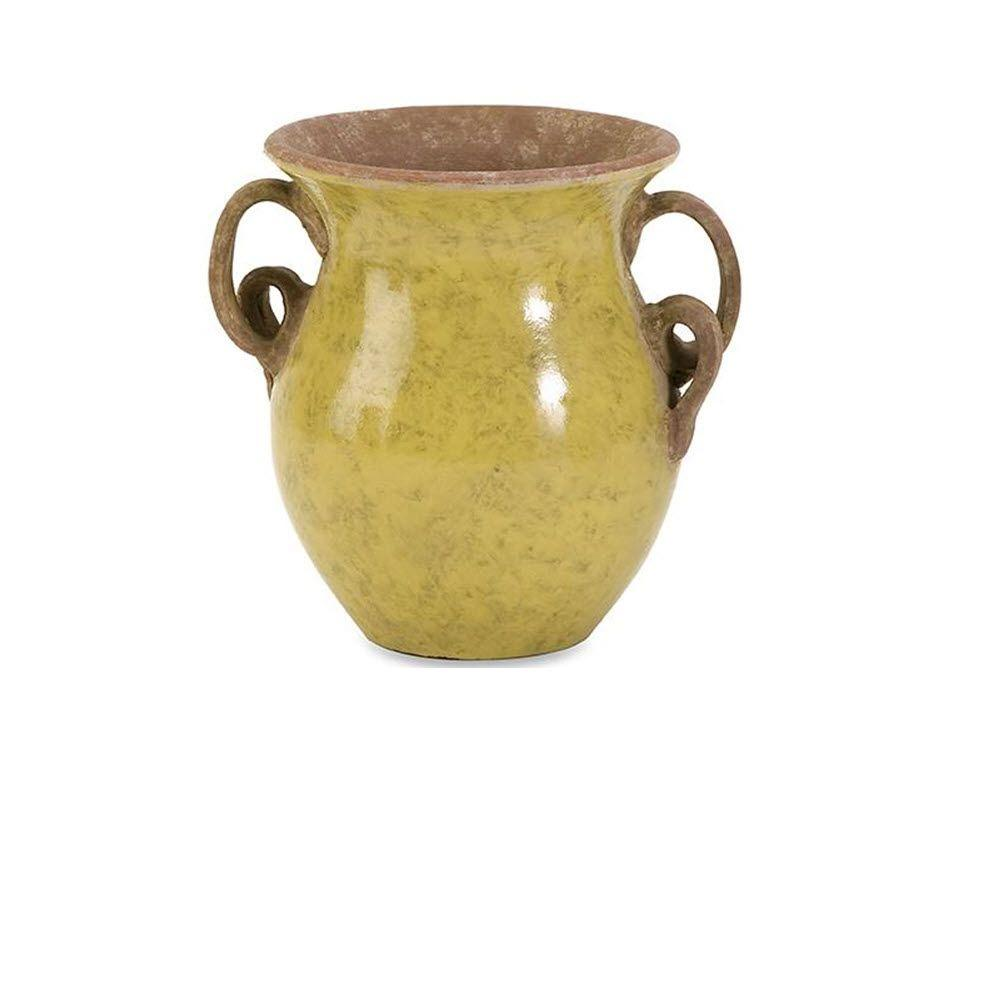 Home Decorators Collection 6.75 in. H x 7 in. Diameter Yellow Pravuil Small Handmade Vase