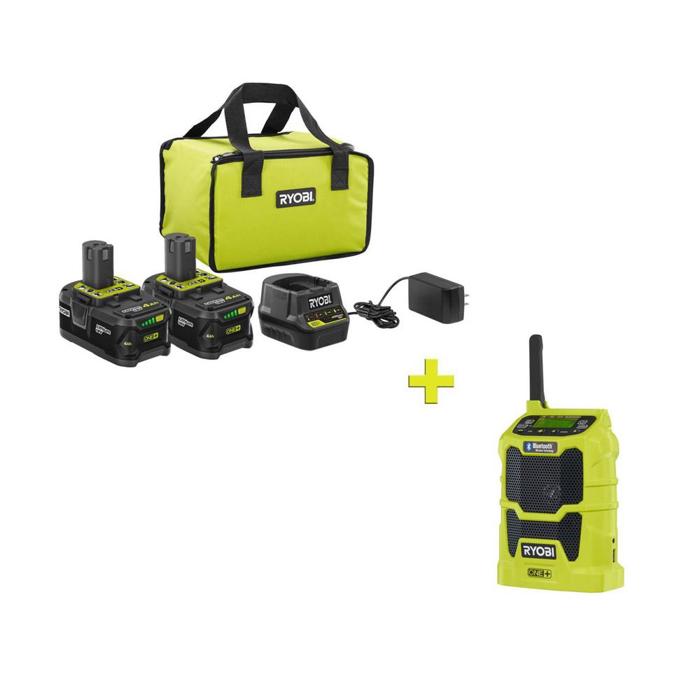 RYOBI 18-Volt ONE+ High Capacity 4.0 Ah Battery (2-Pack) Starter Kit with Charger and Bag with FREE ONE+ Compact Radio was $266.97 now $99.0 (63.0% off)
