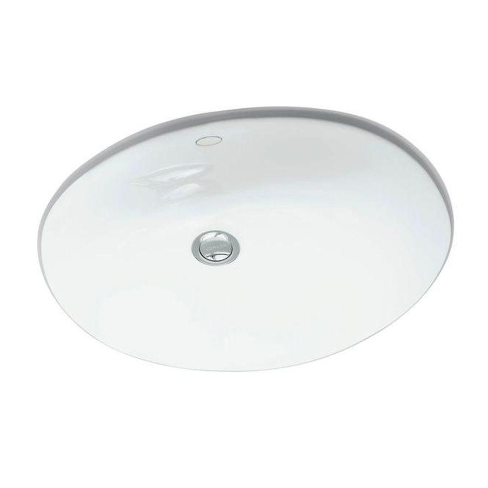 Caxton Vitreous China Undermount Bathroom Sink in White with Overflow Drain