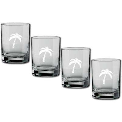 Kasualware Palm Tree 14 oz. Double Old Fashioned Glass (Set of 4)
