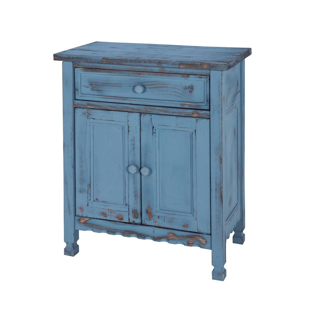 Country Cottage Blue Antique Accent Cabinet
