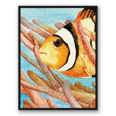 """40 in. x 30 in. """"Clownfish Black Floating Framed"""" Printed Framed Canvas Wall Art"""