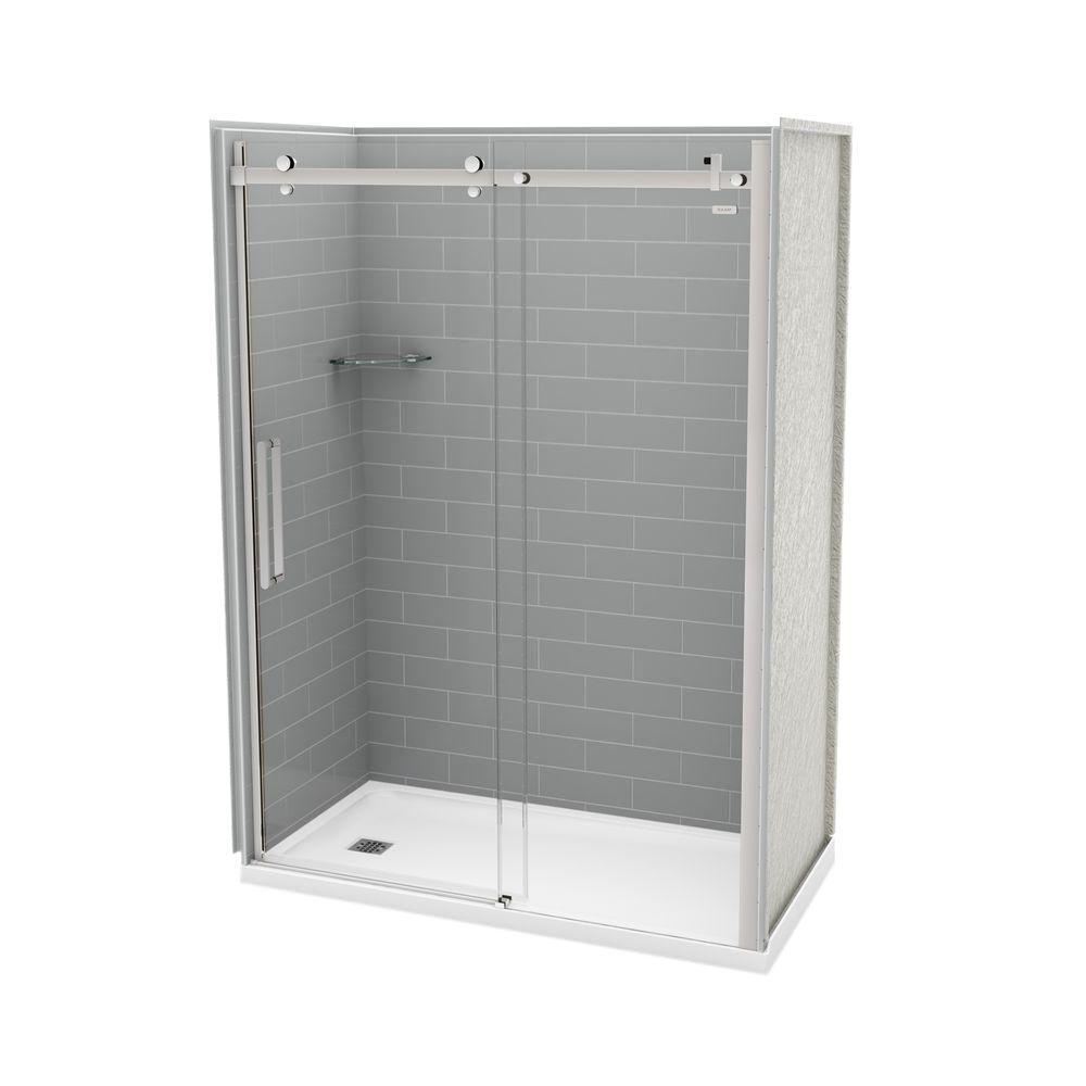 Utile Metro 32 in. x 60 in. x 83.5 in. Left Drain Alcove Shower Kit in Ash Grey with Chrome Shower Door