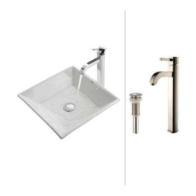 Flat Square Ceramic Vessel Sink in White with Ramus Faucet in Satin Nickel