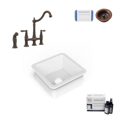 Amplify Undermount Fireclay 18.1 in. Single Bowl Bar Prep Sink with Pfister Bridge Faucet and Strainer