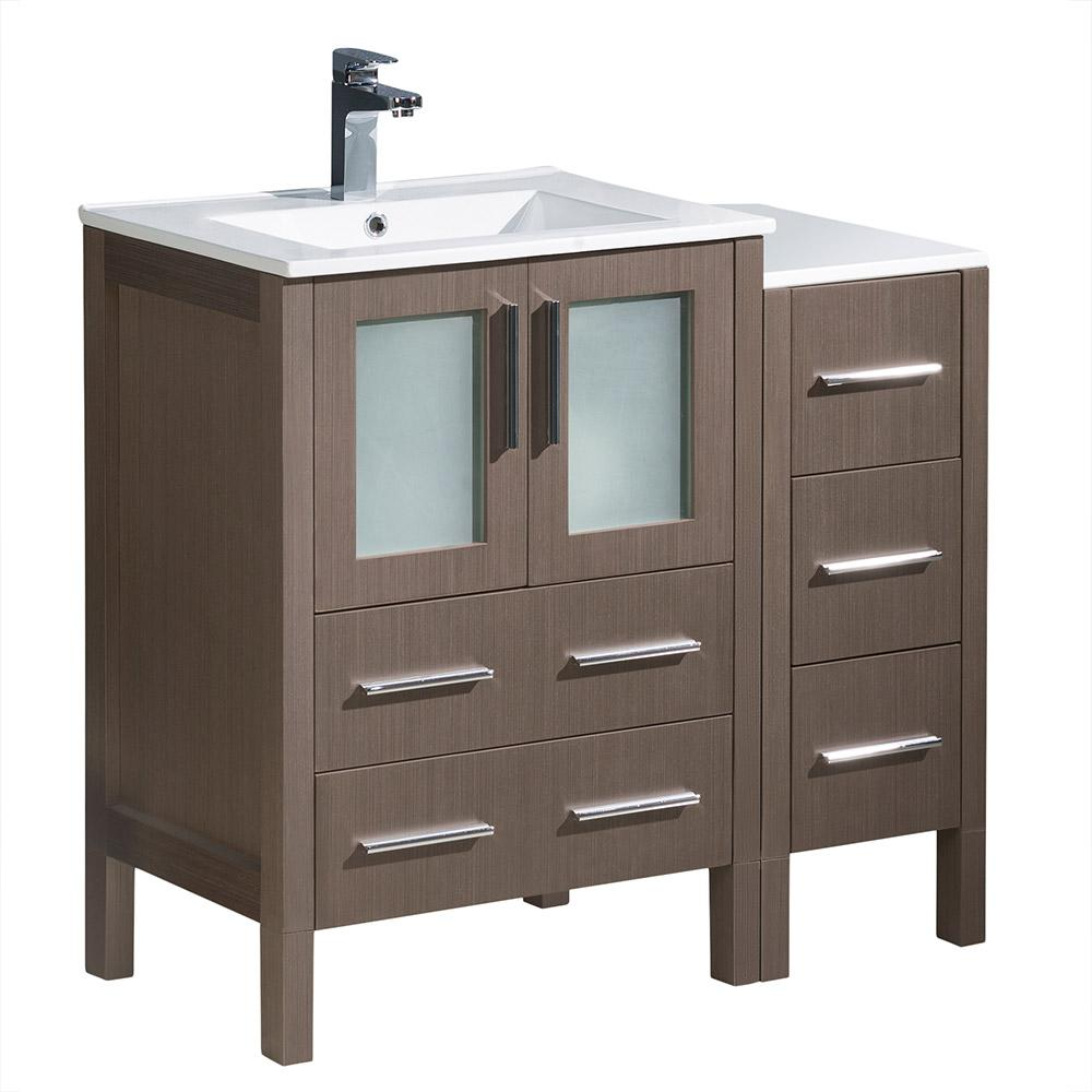 Fresca Torino 36 in. Bath Vanity in Gray Oak with Ceramic Vanity Top in White with White Basin and 1 Side Cabinet