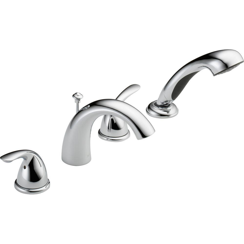 Delta Classic 2-Handle Deck-Mount Roman Tub Faucet with Hand Shower ...