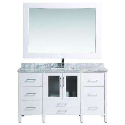 Stanton 60 in. W x 22 in. D Vanity in White with Marble Vanity Top and Mirror in White