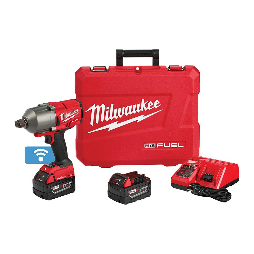 M18 Fuel One Key 18 Volt Lithium Ion Brushless Cordless 3 4 In Impact Wrench W Friction Ring Kit 2 5 0ah Batteries