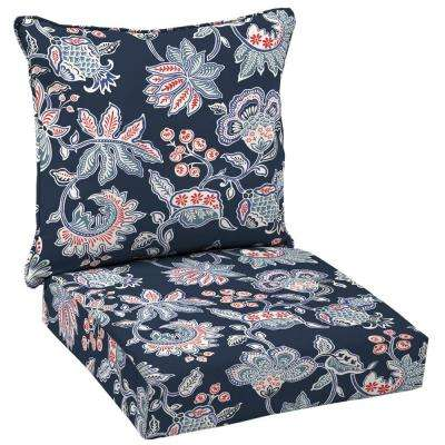 Caroline Welted 2-Piece Deep Seating Outdoor Lounge Chair Cushion Set