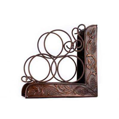 10.5 in. x 4.75 in. x 10.5 in. Ant Emb Heritage 3-Bottle Wine Rack Bookend