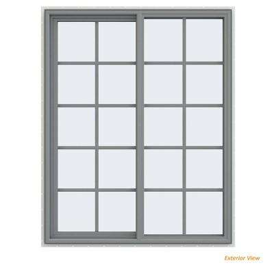 47.5 in. x 59.5 in. V-4500 Series Gray Painted Vinyl Left-Handed Sliding Window with Colonial Grids/Grilles