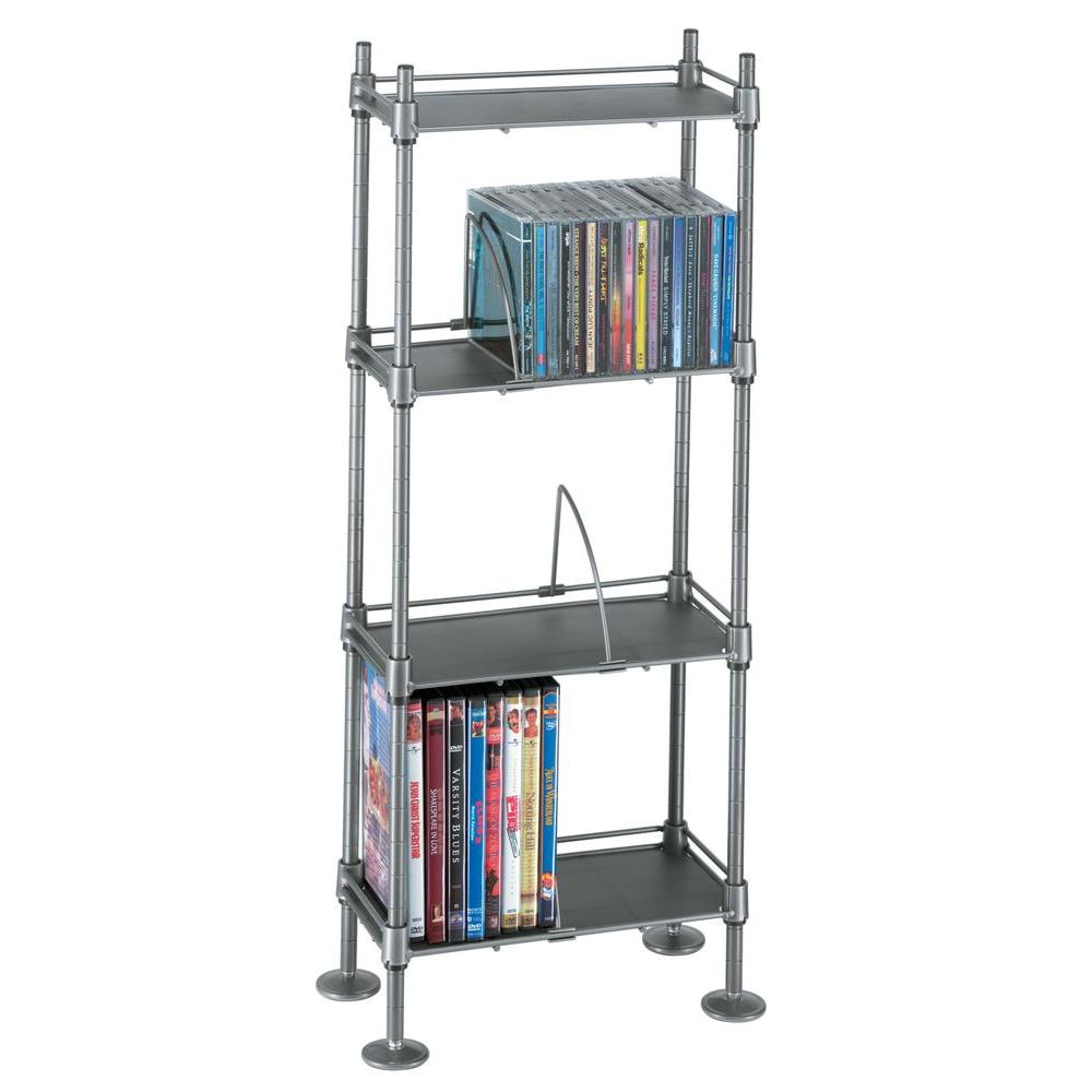 Atlantic Translucence 100 CD or 51 DVD or Blu-Ray Titanium With Black 4-Tier Media Rack