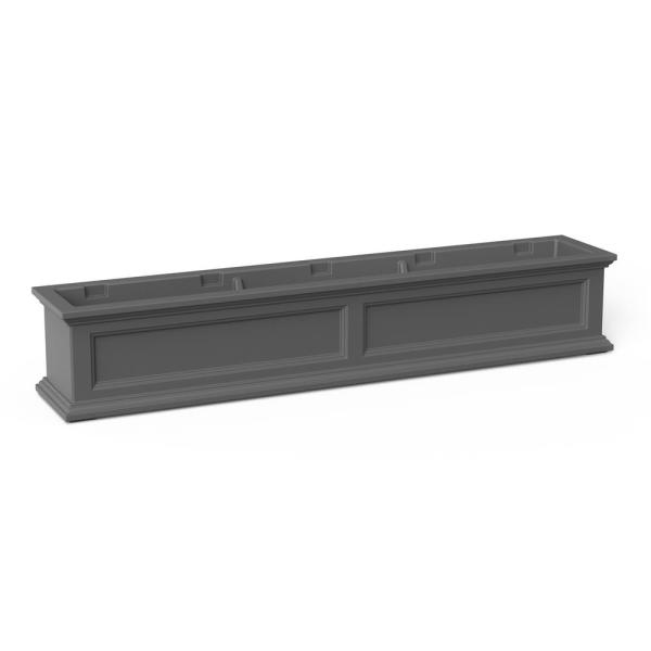60 in. x 11 in. Graphite Grey Plastic Window Box