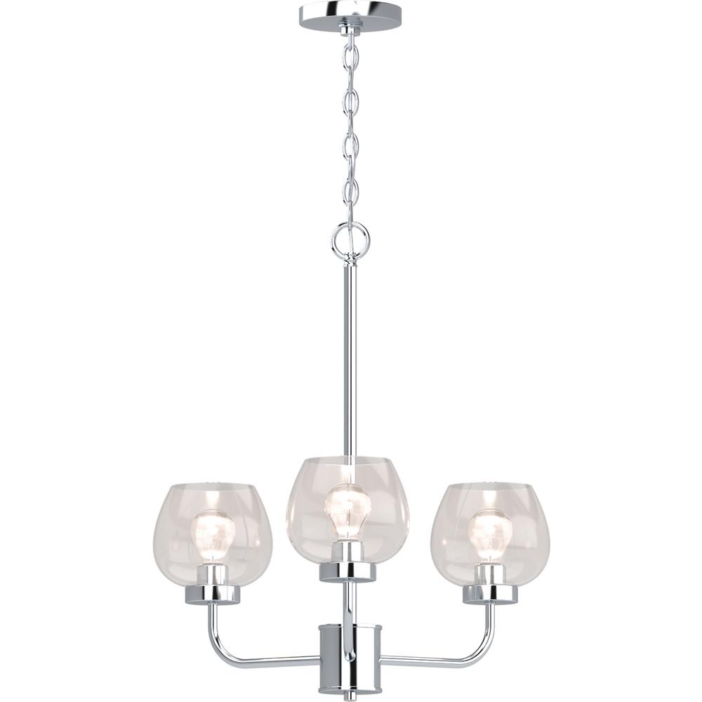 Volume Lighting Aria 3 Light Polished Nickel Indoor Hanging Chandelier With Clear Gl Shade