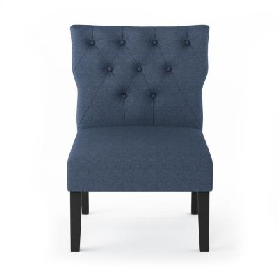 Belfort Denim Polyester Button Tufted Back Accent Chair (Set of 2)