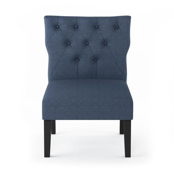 Furinno Belfort Denim Polyester Button Tufted Back Accent Chair (Set of