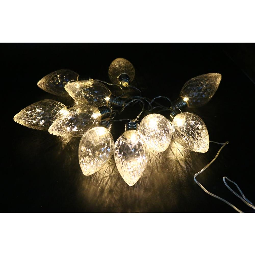 Alpine 10-Light LED Light Bulbs Faceted Clear Decorative String ...