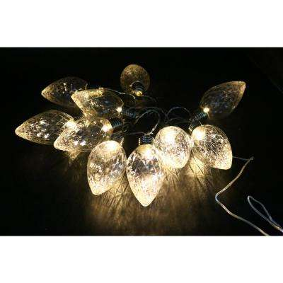 10-Light LED Light Bulbs Faceted Clear Decorative String Lights Decor (Set of 10)